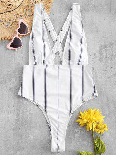 ZAFUL Striped Criss Cross Plunging Swimsuit - White S
