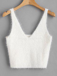 Chaleco Texturizado Con Cuello En V Suéter - Blanco L