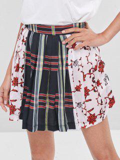 Pleated Striped Flower Mini Skirt - Multi M