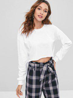 Drop Shoulder Cropped Sweatshirt - White M