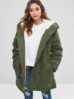 Faux Fur Lined Winter Parka Coat - Camouflage Green Xl