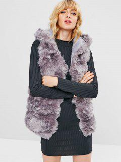 Open Front Faux Fur Waistcoat - Smokey Gray