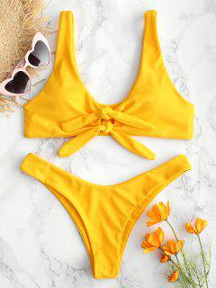 Bikini De Ojo De Cerradura Anudado ZAFUL - Amarillo Brillante M