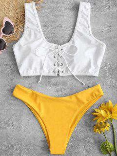 ZAFUL Lace Up Color Block Bikini Set - Bright Yellow M