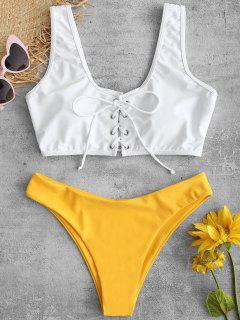 ZAFUL - Schnürsenkel-Bikini-Set - Helles Gelb L