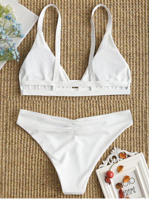 affordable Ladder Cut Cami Ruched Bikini - WHITE S Mobile