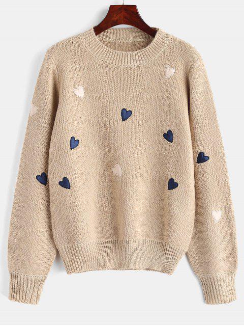 Suéter gráfico de corazones con cuello redondo - Caqui Claro Talla única Mobile