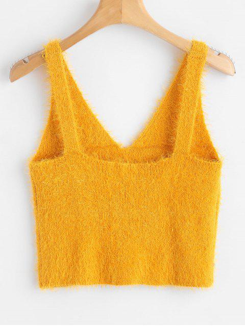 lady Vest Textured V Neck Sweater - BEE YELLOW S Mobile