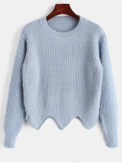 Asymmetrischer Saum Fuzzy Sweater - Helles Blau Eine Größe Mobile