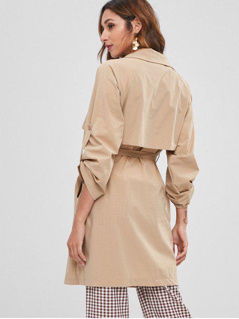 Manteau Trench Léger avec Poche Cousue - Kaki Léger L Mobile
