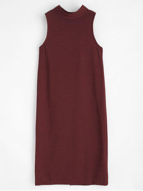 Boutons Mock Neck Dress - Rouge Vineux M Mobile