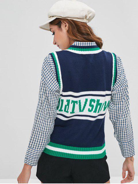 womens Letter Jacquard Tricolor Sweater Vest - MULTI ONE SIZE Mobile