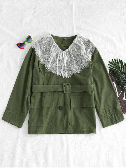 womens Lace Overlay Oversized Twill Jacket - ARMY GREEN L Mobile