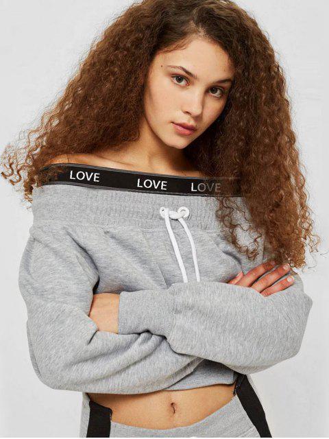lady Off Shoulder Letter Crop Sweatshirt - GRAY M Mobile