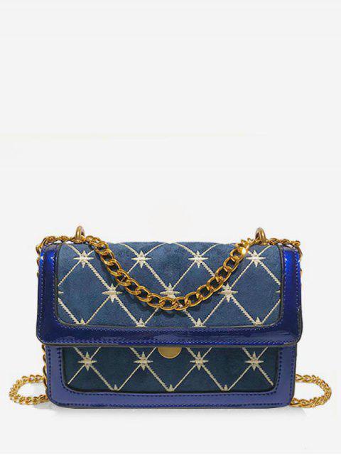 Sac à bandoulière à motif géométrique - Bleu  Mobile
