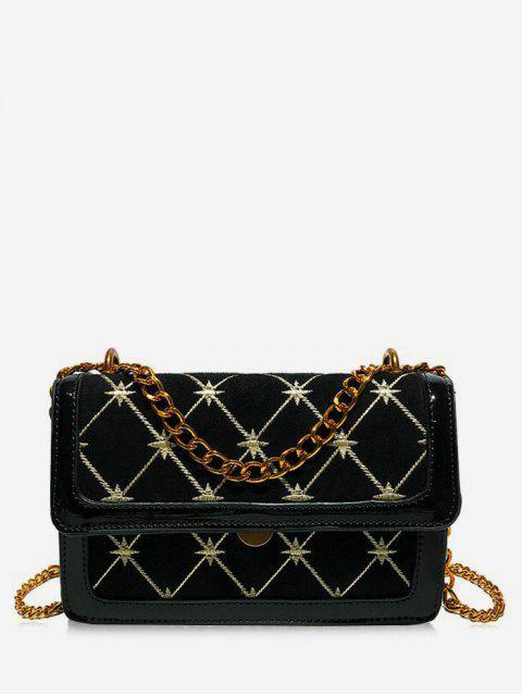 buy Geometric Pattern Chain Crossbody Bag - BLACK  Mobile