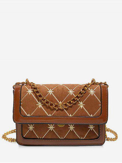womens Geometric Pattern Chain Crossbody Bag - BROWN  Mobile