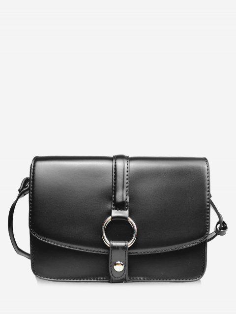 ladies Round Hole Embellished Mini Crossbody Bag - BLACK  Mobile