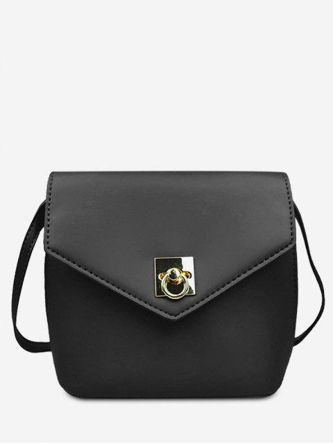 lady Solid Color Mini Crossbody Bag - BLACK  Mobile