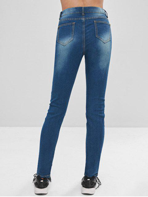 Flower Embroidery Zip Fly Ripped Jeans - Azul Profundo S Mobile