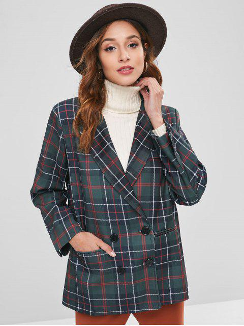 chic Checked Padded Shoulder Double Breasted Blazer - MULTI M Mobile