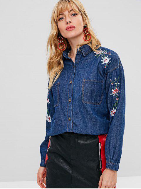 Veste Fleur Brodée avec Poche en Velours Côtelé - Bleu Cobalt L Mobile