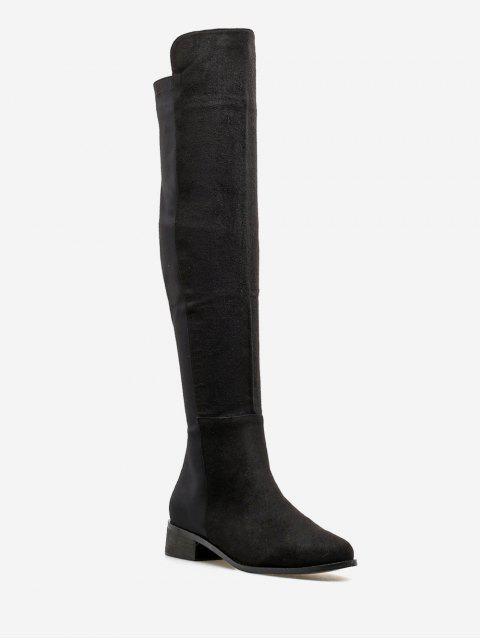 shop Low Heel Suede Thigh High Boots - BLACK EU 40 Mobile