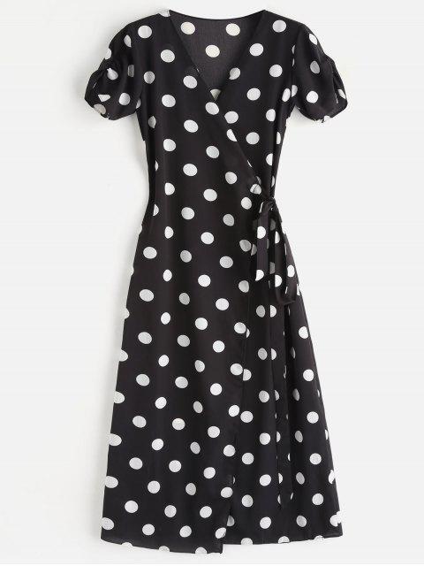 Maxi Robe Nouée Enveloppée à Pois - Noir S Mobile