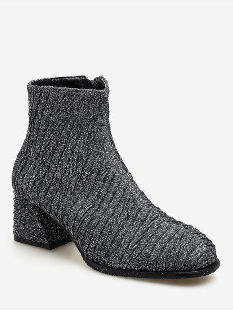 affordable Block Heel Textured Short Boots - JET GRAY EU 39 Mobile