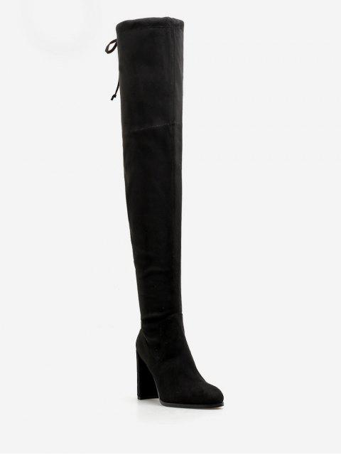women High Heel Drawstring Over the Knee Boots - BLACK EU 37 Mobile