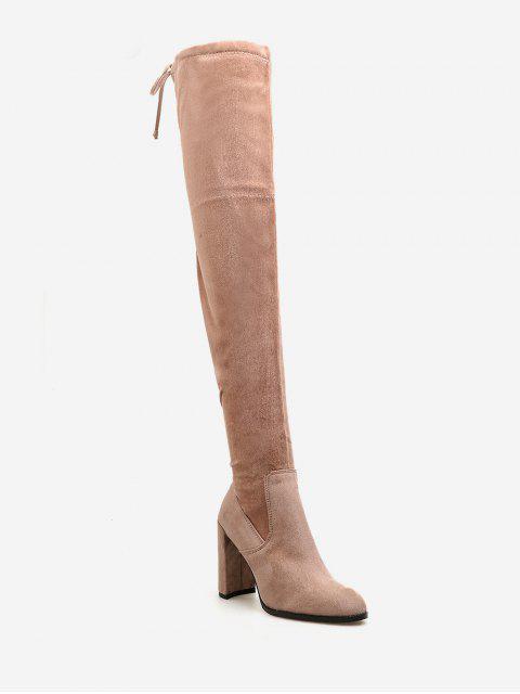 High Heel Kordelzug über die Knie Stiefel - Orange Rosa EU 37 Mobile