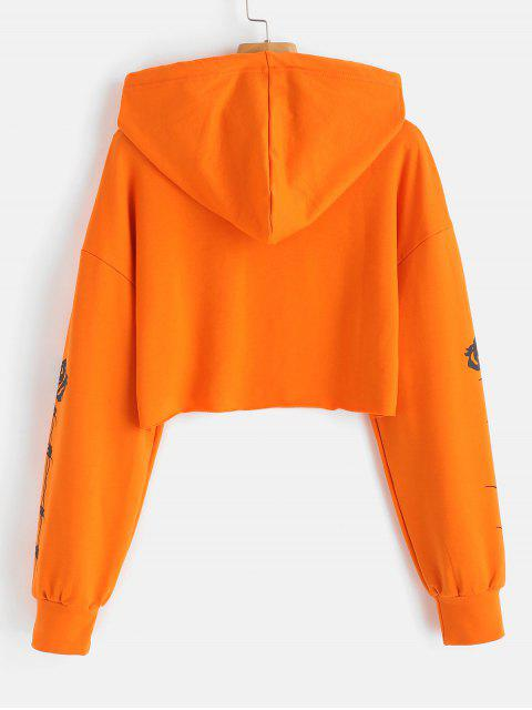 affordable Rose Graphic Crop Raw Hem Hoodie - ORANGE S Mobile