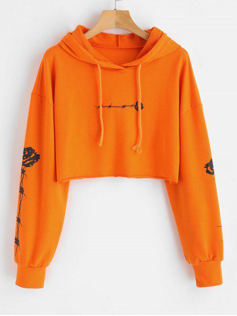 Rosen-Druck Crop Raw Hem Hoodie - orange  M Mobile