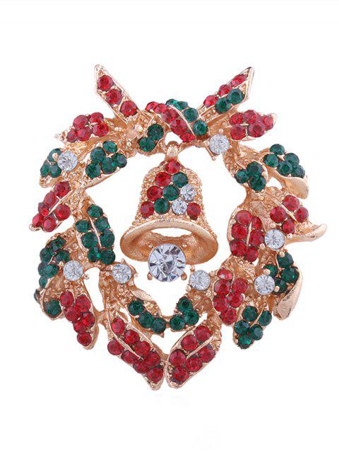 outfits Christmas Bell Rhinestone Inlaid Brooch - MULTI  Mobile