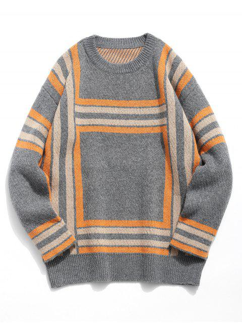 online Soft Square Knitted Sweater - CARBON GRAY L Mobile