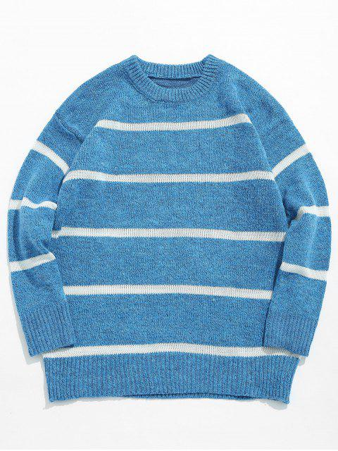 outfit Casual Striped Pullover Knit Sweater - OCEAN BLUE XL Mobile