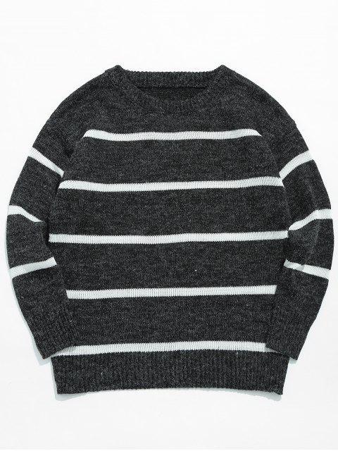 Jersey de punto casual con rayas - Negro XL Mobile