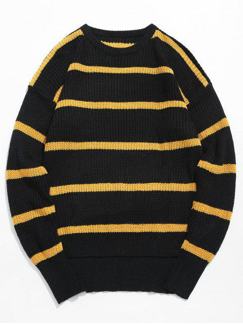 chic Asymmetrical Hem Striped Knit Sweater - BEE YELLOW M Mobile