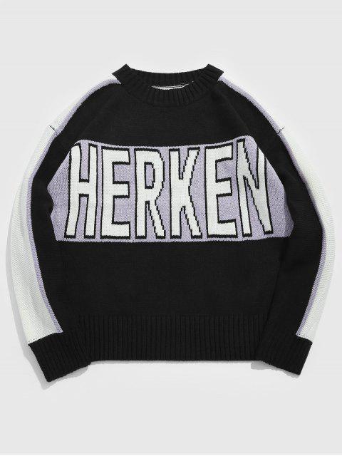 Suéter de punto casual de la letra del pecho - Negro 3XL Mobile