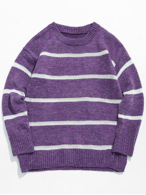 Jersey de punto casual con rayas - Flor Púrpura 2XL Mobile