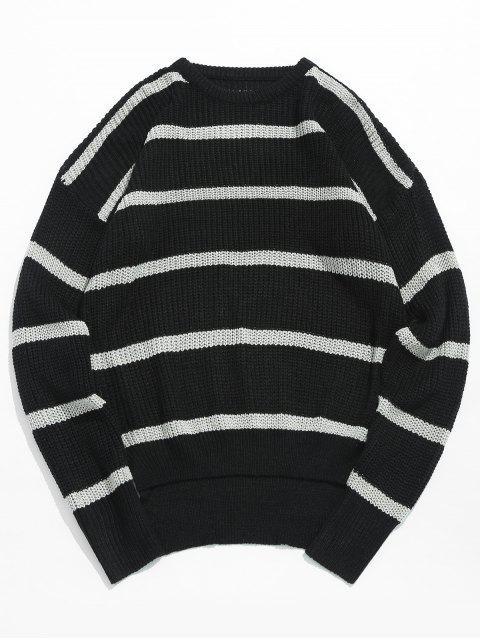 Suéter de punto de rayas asimétricas dobladillo - Negro M Mobile