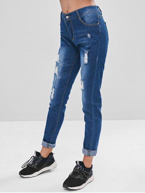 Bolsillos embellecidos jeans rasgados suaves - Azul 2XL Mobile
