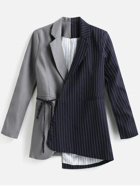 Striped Contrast Asymmetric Blazer - Gris L Mobile
