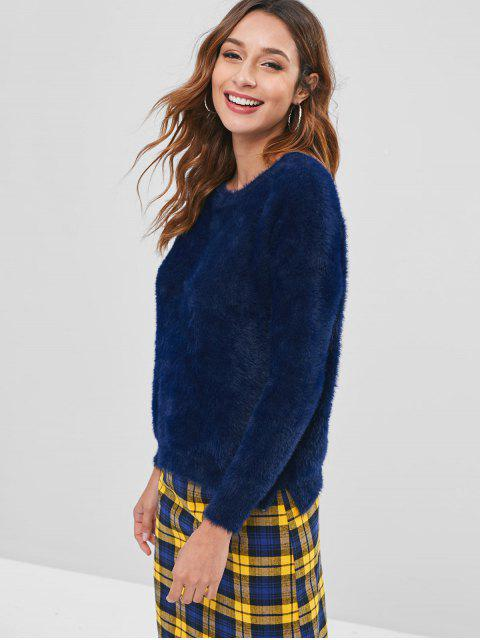 outfit Flower Embroidery Fleece Sweater - CADETBLUE ONE SIZE Mobile