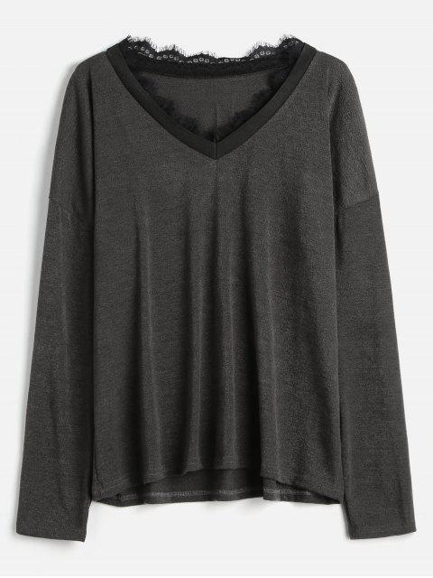 lady Lace Trim Plus Size Knitwear - SMOKEY GRAY 2X Mobile