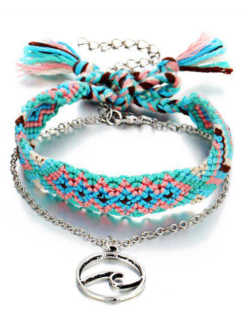 women Boho Knitted Ankle Bracelet - DEEP SKY BLUE  Mobile