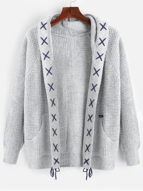 fancy Strip Bandage Criss Cross Cardigan - LIGHT GRAY M Mobile