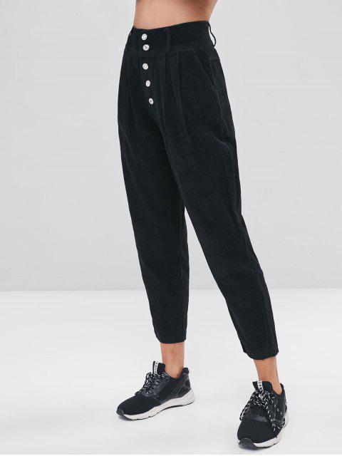 Pantalon en Couleur Unie avec Bouton Volant en Velours Côtelé - Noir L Mobile