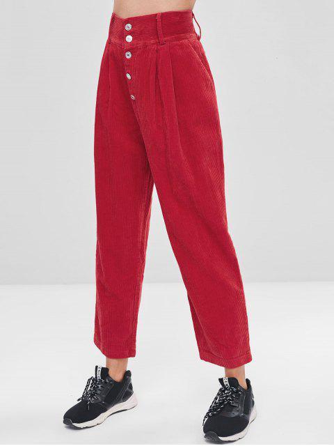 Pantalones de pana de botón de color sólido - Rojo M Mobile