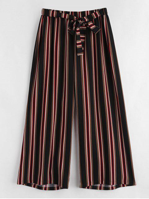 Pantalon Rayé de Grande Taille à Taille Nouée - Multi 4X Mobile